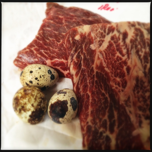 Snake River Kobe flatiron steaks & quail eggs