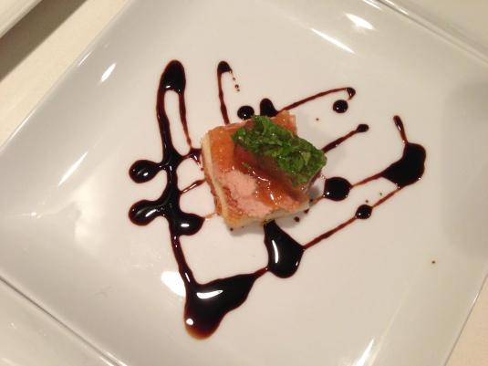 Fois gras, toasted brioche, Seville orange, chervil Cognac aspic, raspberry balsamic reduction