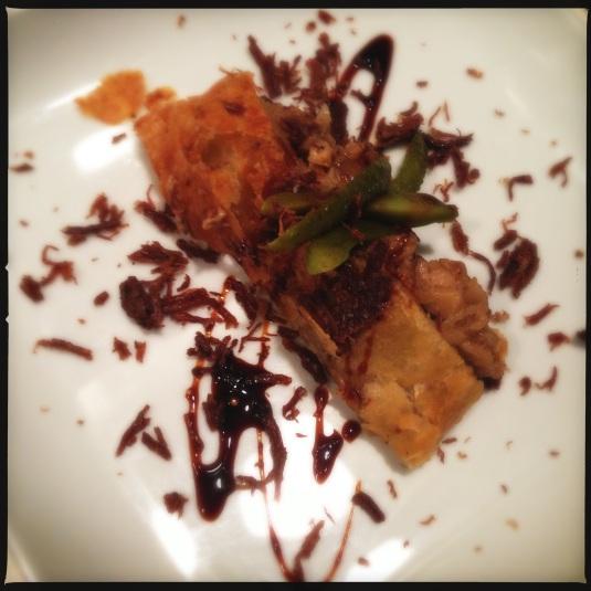 """""""Intermezzo"""" — wild matsutake duxelles, goose rillettes, cornichons & puff pastry"""