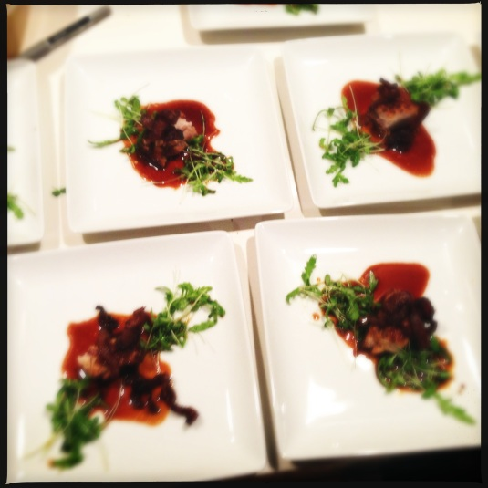 """I Heart Pig"" — braised & broiled Du Breton pork belly, Kurobata jowl cracklings, bacon fat tiny salad & hog sauce"