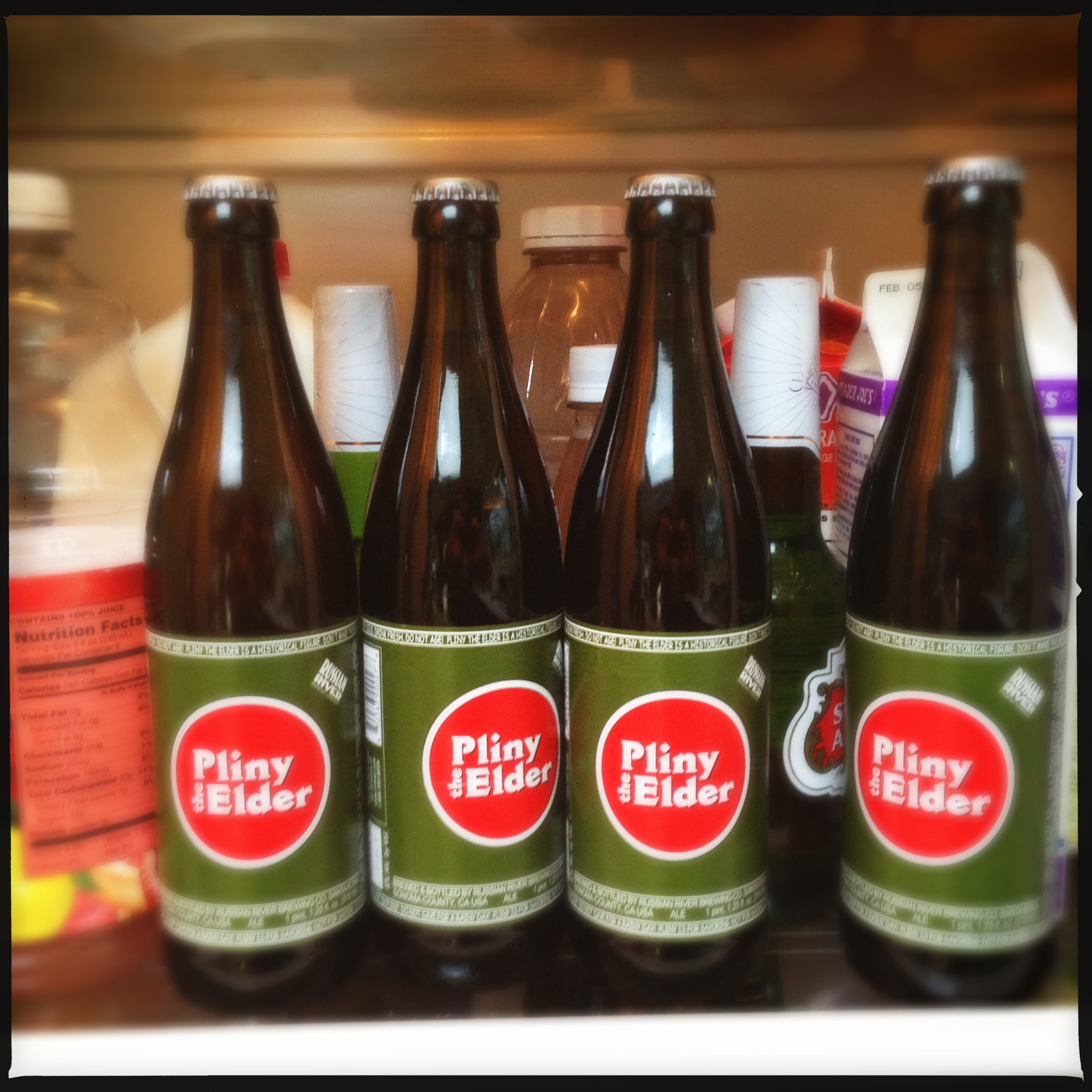 Pliny, crowding out the other beers in my fridge