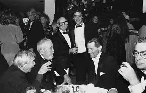 John Huston's table, Spago Oscars party, 1986