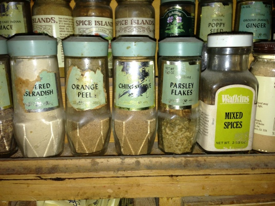 My father's spice rack — spices from my childhood!!!