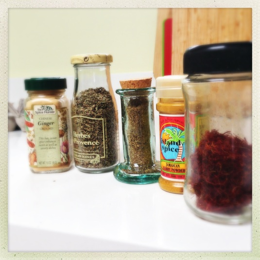 Old spices from my spice drawer (l to r): Chinese powdered ginger, herbes de Provence (who ever uses herbes de Provence!??), something so old I don't even know what it is, some Jamaican curry a friend brought me back from Jamaica when we were in our 20s, and ancient saffron from my dad's friend Pierre