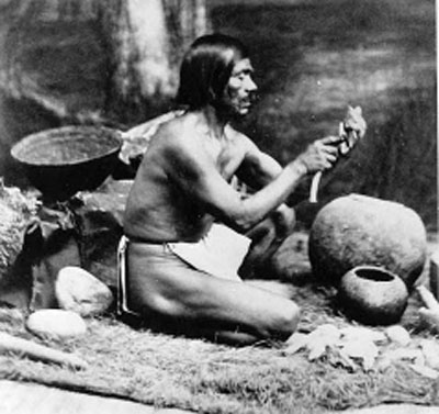Chumash guy making stuff with acorns in the old days