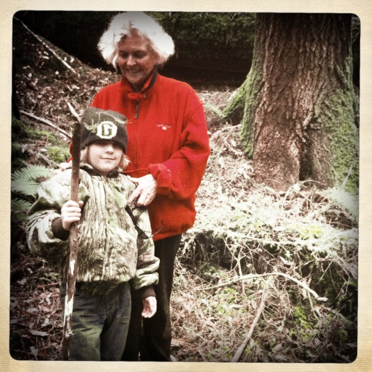 Flynn and Mama Annie, mushroom hunting on the Sonoma coast