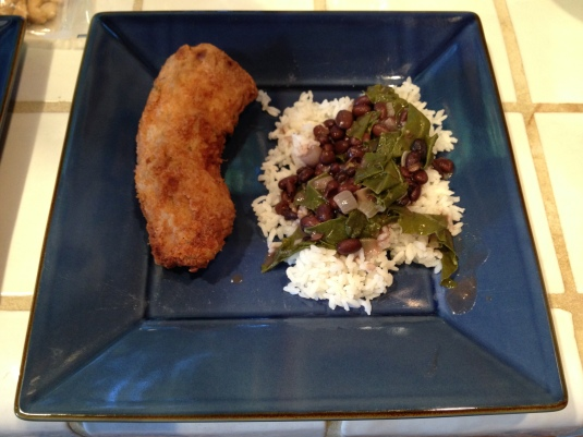 Dan's beer-battered rattlesnake with coconut rice and black beans