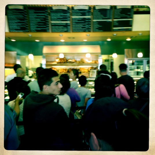 Madness inside Porto's (the ordering counter far in the distance)