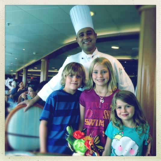 Flynn, Maya and Willa with their hero, Vasheesh, head chef of the Horizon Court buffet