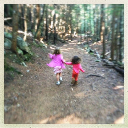 Willa and Immy in the woods near Dewey Lake, Skagway, Alaska