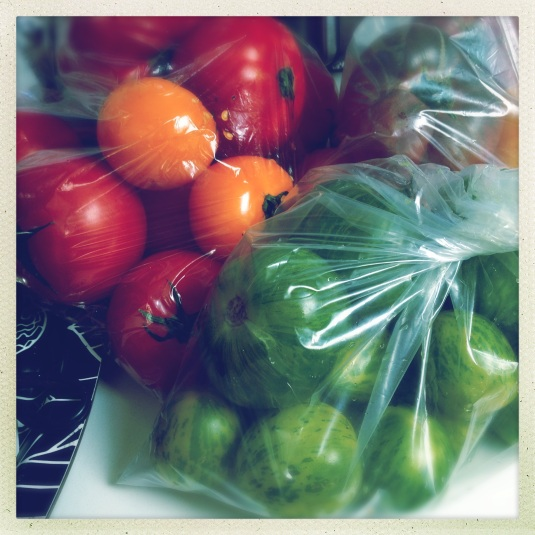 Heirloom tomatoes for gazpacho and green zebra risotto