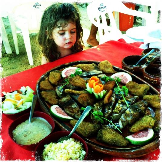 Imogen and the grand plato de pescado at Los Conos