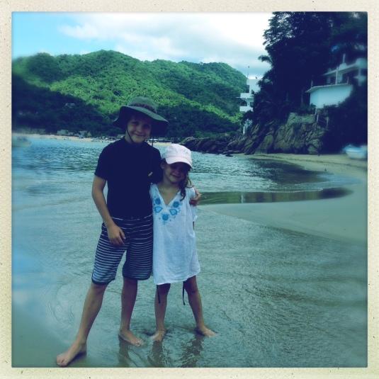 Flynn & Willa on the beach in Yelapa