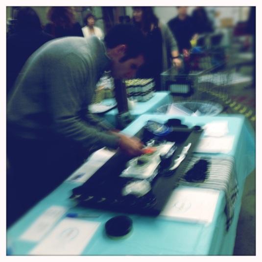 The caviar guy hard at work