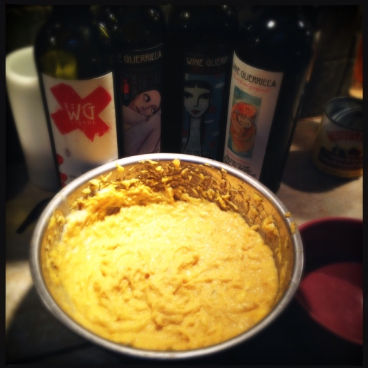 Pureed acorn squash, ready for pie (Thanksgiving drink of choice, family-owned Wine Guerrilla zins, in the background)