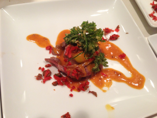 "Last year's Kobe flatiron tartare ""blossoms,"" quail egg, curried ketchup emulsion, caper & pickled ginger mirepoix and fried parsley — doesn't look that bad, right??"