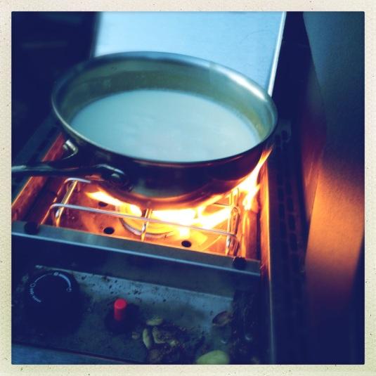 Cauliflower soup cooking on the Weber side burner