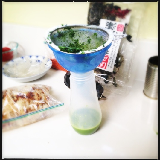 In the lab the eve of the eve (watercress emulsion, kudzu chips, Japanese sea vegetables, tomato powder, dried rice cakes…)