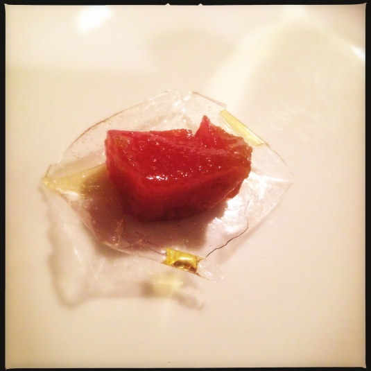 Amuse bouche — toro with fresh wasabi in an olive oil-kudzu chip