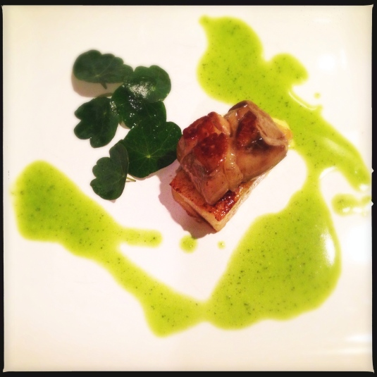 Pan-grilled foie gras, caramelized d'Anjou pear, nasturtium leaf salad, watercress emulsion