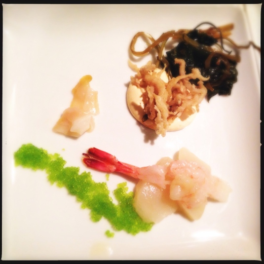 Fried ice fish, sweet shrimp & scallop, conch, sea urchin cream, wasabi tobiko and warm sea vegetables