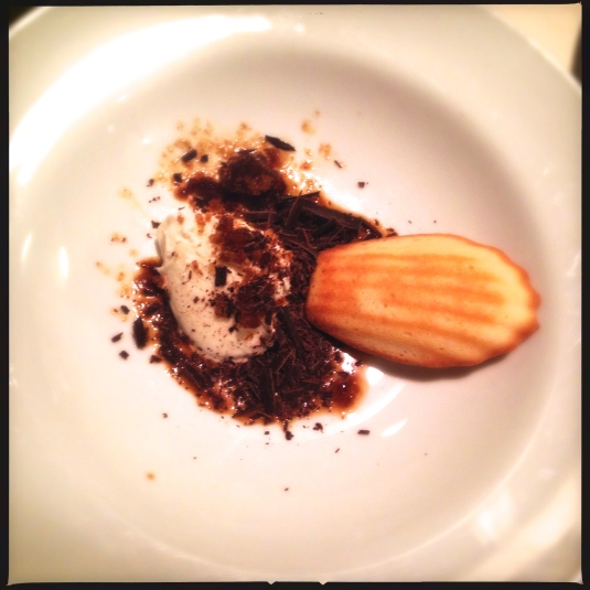 """Latté"" — espresso snow, sweet cream gelato, shaved chocolate, madeleine"