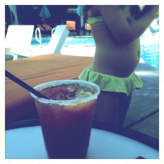 Bloody Mary & Imogen poolside