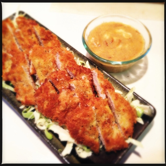 Tonkatsu with Japanese cole slaw and egg/mirin dipping sauce