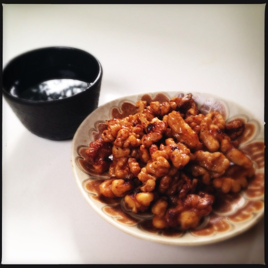 Miso walnuts with saké reflecting the winter sky