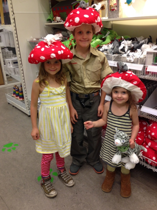 My kids as amanita muscaria in the Ikea kid section