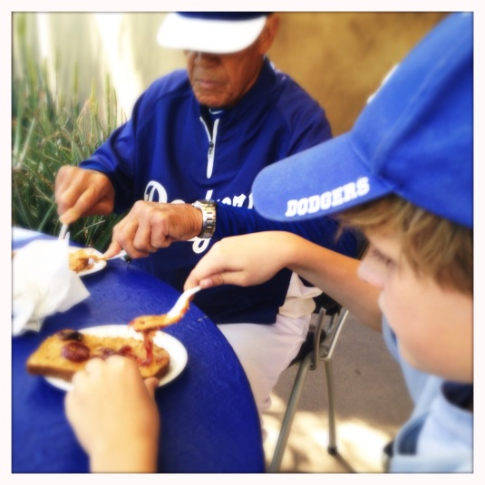 Flynn and Maury Wills, sharing PB+J