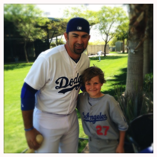 Flynn and his favorite Dodger, Adrian Gonzalez