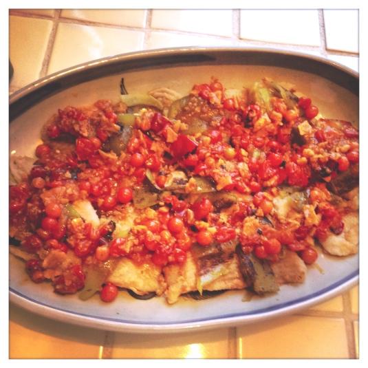 Pan-fried skate wing with salsa de mercado