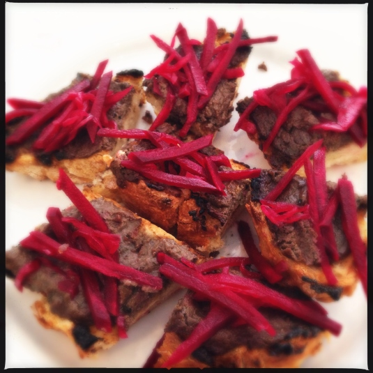 Crostini with beet pickles