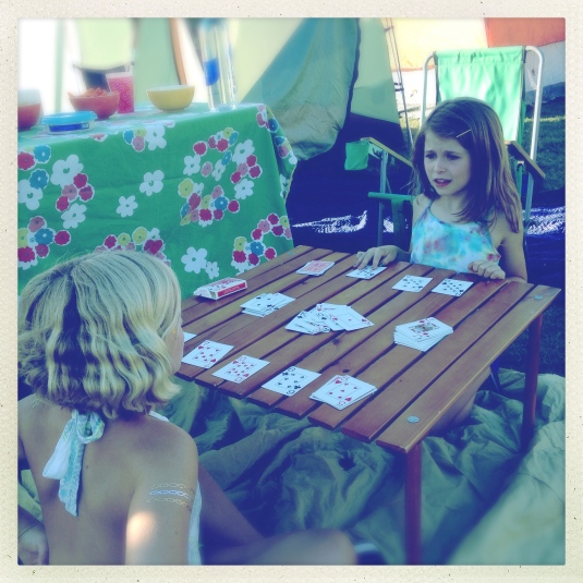 Willa and Lucy playing cards