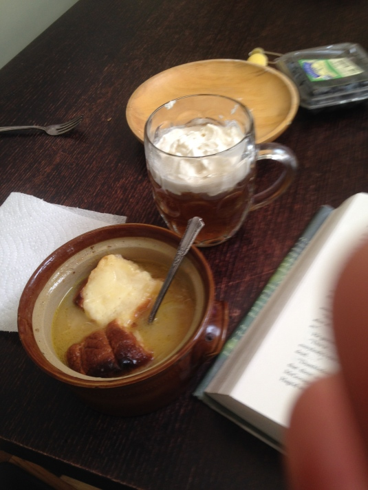 "French onion soup, butterbeer  and ""Deathly Hallows"" — photo by Flynn"