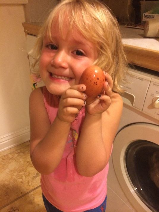 Kinley and her egg