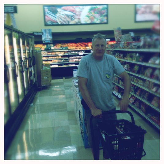 Brody navigates the aisles of the Mitsuwa — timidly at first