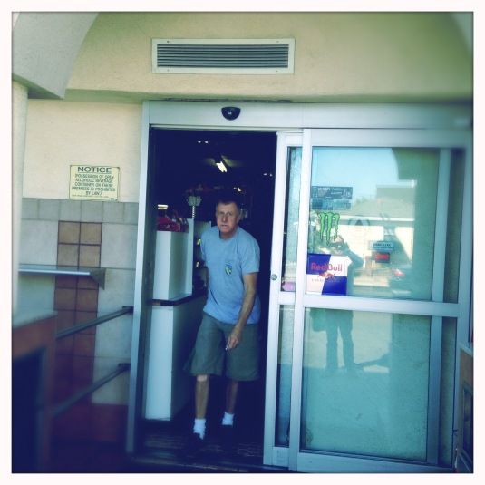 Brody exiting the Carniceria Sanchez