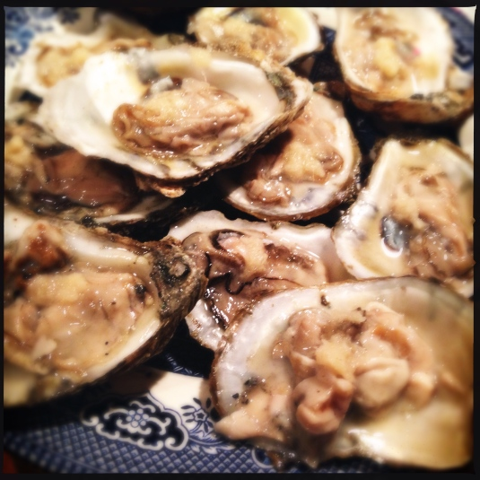 Oysters, lamenting their unfortunate Christmas demise