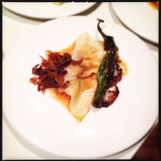 "Course 2: ""Foie Gracias"" — foie gras ravioli, guava duck reduction, duck confit, masa iberico relleno"