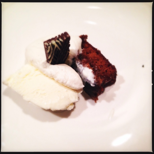 "Course 7: ""Mr. Creosote"" — sticky toffee pudding, sweet cream ice cream, bourbon whipped cream, wafer-thin mint"