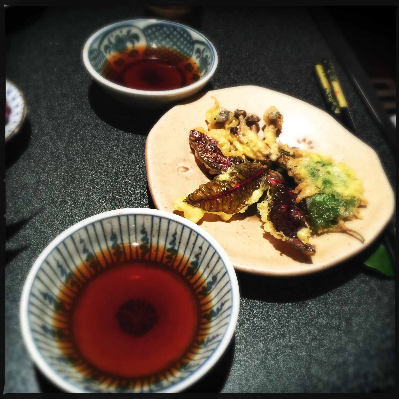 Tempura — sorrel leaves, wild mushrooms, shiso leaf with sea urchin