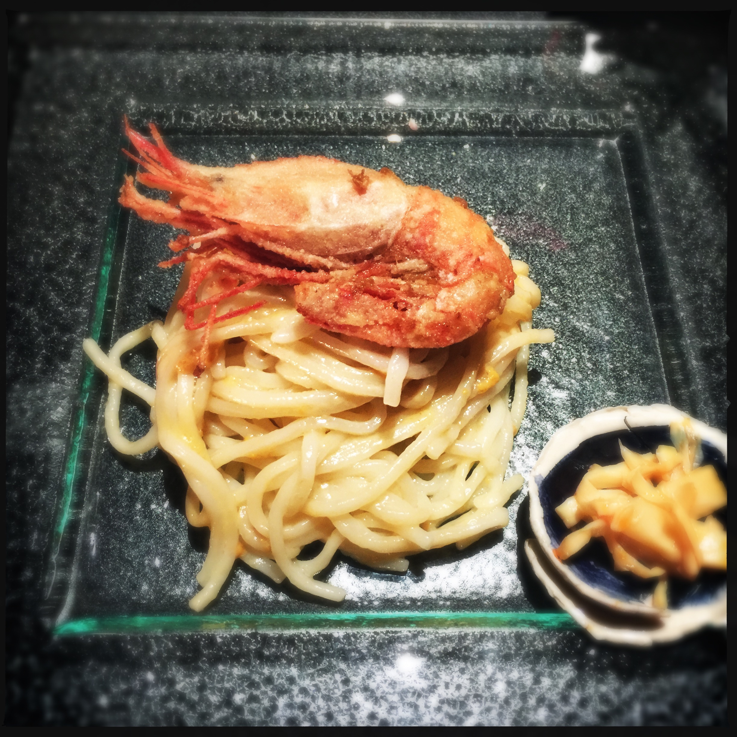 Fried ama ebi with sea urchin noodles and Chinese fermented bamboo shoot