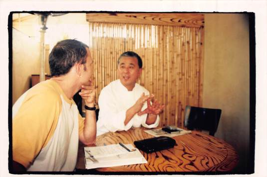 Nobu and me chatting at Matsuhisa circa 2001