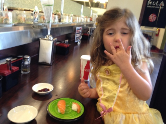 Imogen at the Kula sushi bar, April 2014