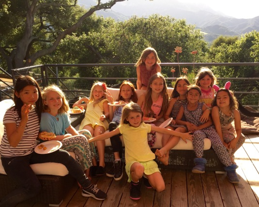 Willa and her birthday posse — whoa, that's a lot of girls!