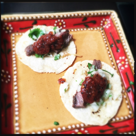 Dry-aged ribeye tacos on duck-fat tortillas