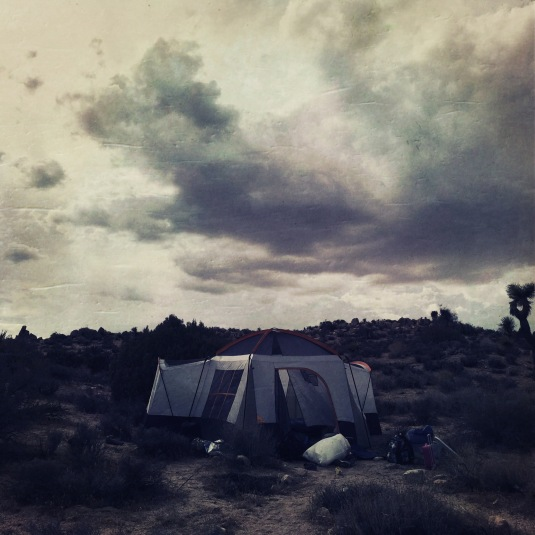 Our tent and an angry sky