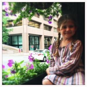 Imogen in the window at Emmett's
